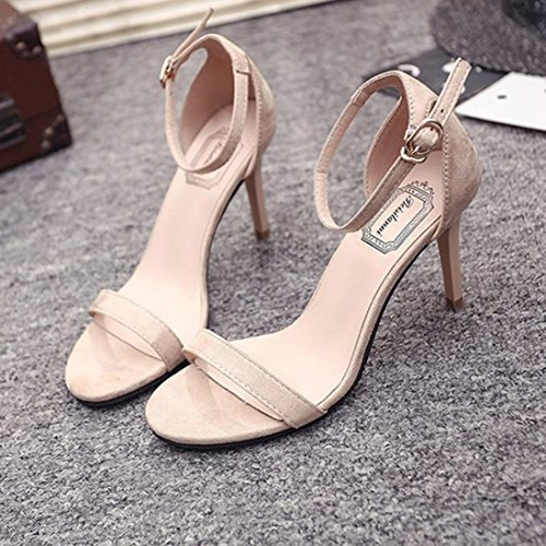 Sandals Shoes Fashion Strappy Women Barely Strap There Ankle High Beige Ladies Open Sandals Heels Saihui Toe dRTXqWq