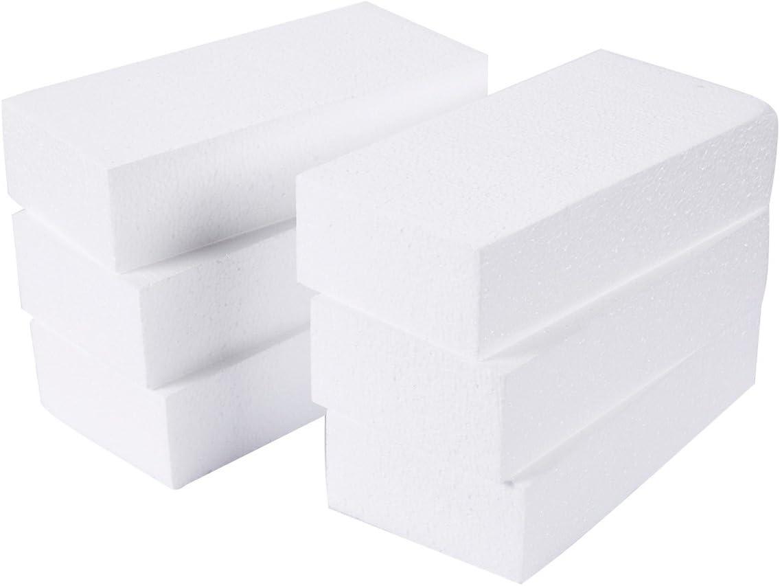 Bloques rectangulares de espuma, suministros para manualidades (8 x 4 x 2 pulgadas, 6 unidades)