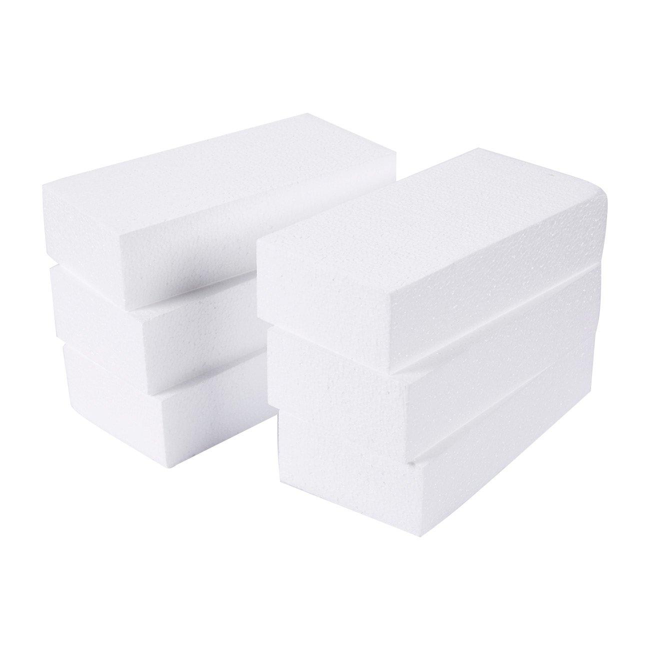 Craft Foam Block - 6-Pack Rectangle Polystyrene Foam Brick - Styrofoam Blocks for Sculpture, Modeling, DIY Arts and Crafts - White, 8 x 4 x 2 inches