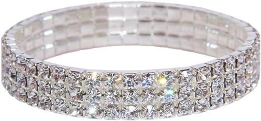 Femmes Bracelet Jonc Argent Cristal Strass Mariage Bijoux De Mariée Diamant G