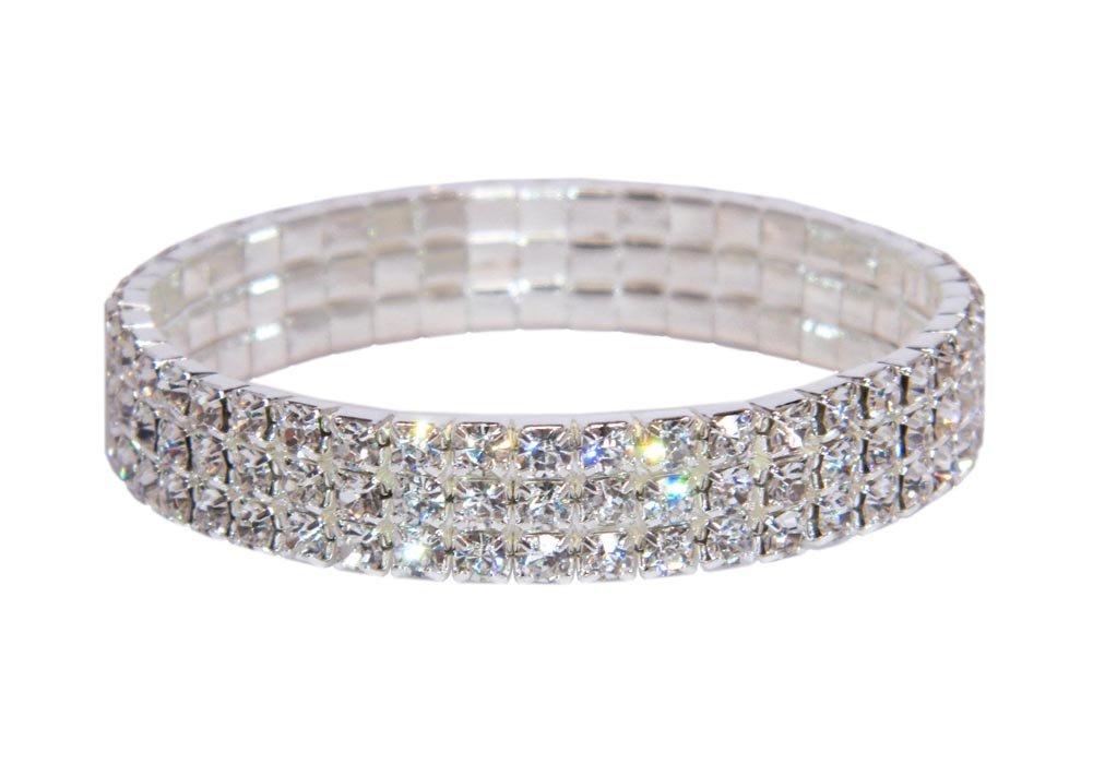 Weiss Rhinestone Stretch Bracelet Silver - Genuine Crystal - Bridal, Wedding, Prom, Party, Pageant, Evening Wear, Party Wear, Tennis Bracelet (3 Row) by Albert Weiss