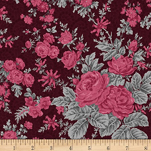 Rouge et Noir Flowery Bliss Dark Red Fabric By The Yard (Noir Rouge)