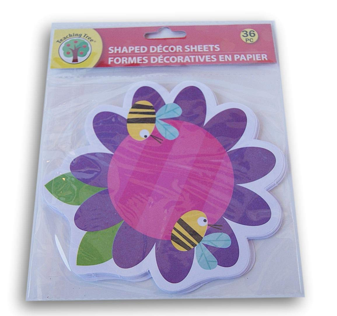 Teaching Tree Paper Shaped Decor Sheets - Bees and Flower - 36 Count by Teaching Tree