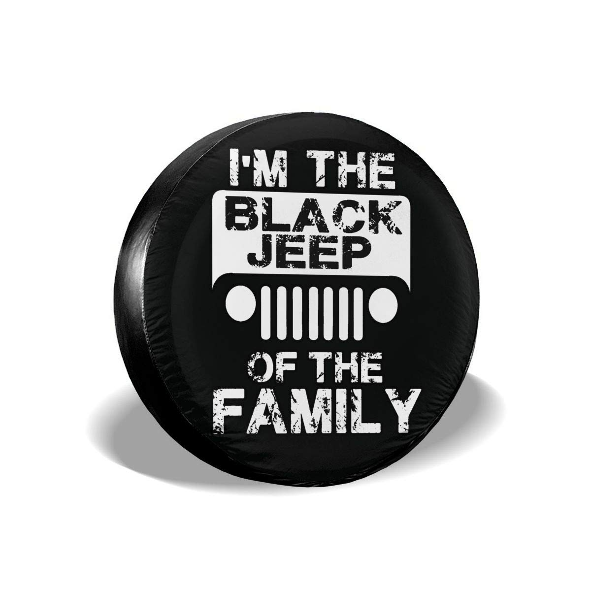 Im The Black Jeep of Family Spare Tire Cover Protector Novelty Wheel Tire Cover Camper Travel Trailer Accessories for Most Vehicle