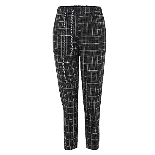 aea9ecf34f Image Unavailable. Image not available for. Color: Women Casual Plaid  Elastic Waist Lace Up Loose Plus Size Full Length Pants