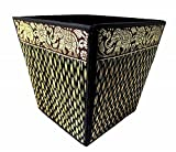 Mongkol Brand Small Decorative Wicker Elephant Paper Waste Basket Bin For Office Bedroom Bathroom Car 8'' (Midnight)