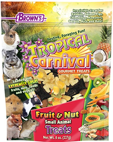 F.M. Brown's Tropical Carnival Fruit & Nut Small Animal Treat with Real Fruits, Nuts, and Veggies for Rabbits, Hamsters, Guinea Pigs, Mice, Gerbils, and Rats, 8 oz