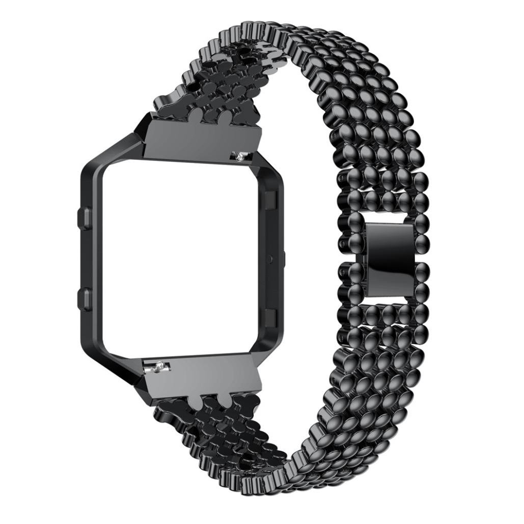For Fitbit Blaze Bands, Gotd Luxury Alloy Watch Band Wrist Strap With Metal Frame For Fitbit Blaze, Large Small (Black) by Goodtrade8 (Image #3)