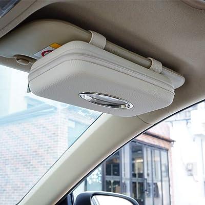 Cartisen Car Tissue Holder, Sun Visor Napkin Holder, Car Visor Tissue Holder, PU Leather Backseat Tissue Case Holder for Car,Vehicle (Beige): Automotive