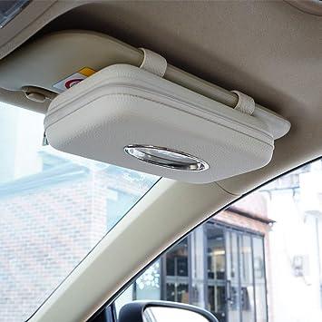 Backseat Tissue Purse Case Holder for Car Black, Beige Tissue Box Holder Sun Visor Napkin Holder 2 Pack Car Tissue Holder PU Leather Tissue Box
