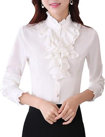 Battercake Camisas Mujer Elegante Primavera Otoño Manga Largo Cuello Medio Alto Negocios Camisas Blanca Casuales Mujeres Slim Fit Modernas Estilo De Las Oficina Shirts Camisas: Amazon.es: Ropa y accesorios