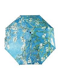 GLODEALS Van Gogh Masterpiece Oil Painting Automático 3 Plegable Sombrilla Protección del Sol AntiUV Paraguas para Mujer (Almond Blossom)