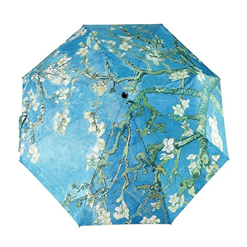 (GLODEALS Automatic Umbrella, Creative Oil Painting Automatic Folding Umbrella Anti UV Sunblock Umbrella Sun Protection Parasol Rain/Sun Umbrella for Ladies (Almond Blossom) )