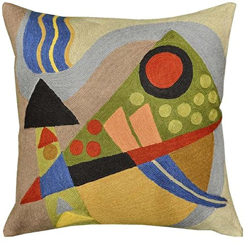 Kashmir Designs Kandinsky Composition VII Cushion Cover Hand Embroidered 18