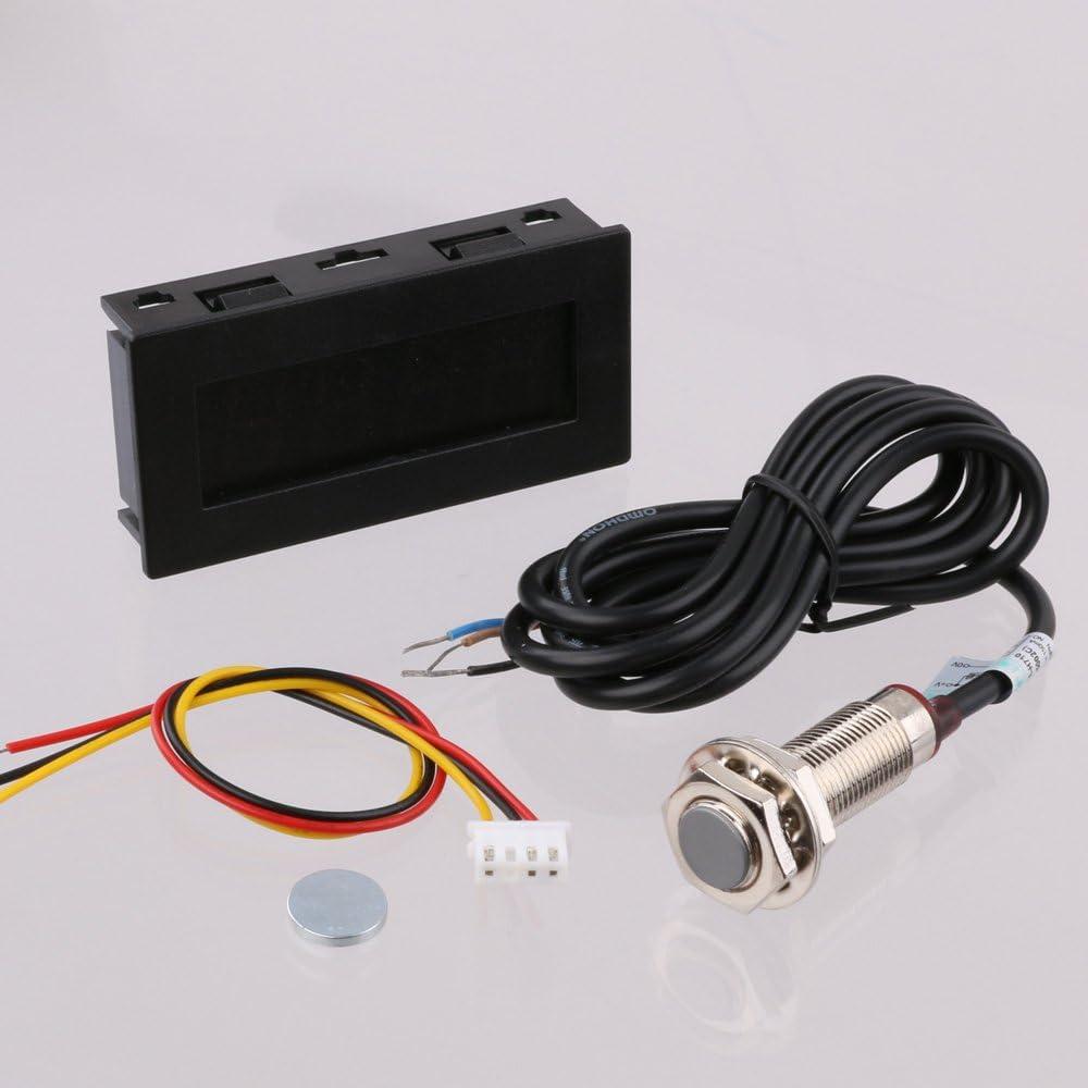 Hall Sensor de interruptor de proximidad NPN lyws 4/Digital azul Led tac/ómetro medidor de RPM Velocidad negro