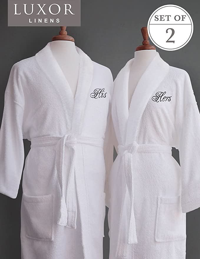 06a5825b7b  8 Luxor Linens – Terry Cloth Bathrobes – 100% Egyptian Cotton His   Her  Bathrobe Set – Luxurious