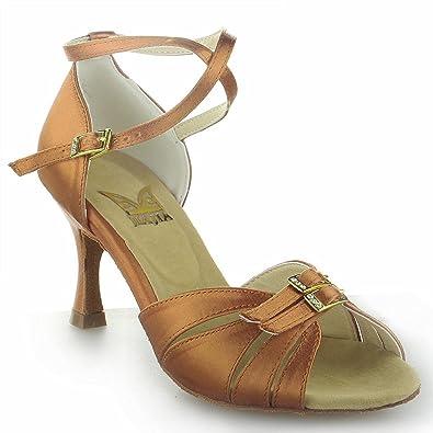 Jia Jia Y20526 Damen Sandalen Ausgestelltes Heel Super-Satin Latein Tanzschuhe