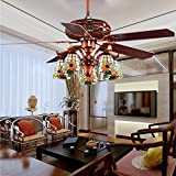 Tropicalfan Vintage Ceiling Fan With 5 Tiffany Glass Light Cover Home Decoration Living Room Bedroom Silent Fans Chandelier 5 Wood Reversible Blades Red Bronze 52 Inch