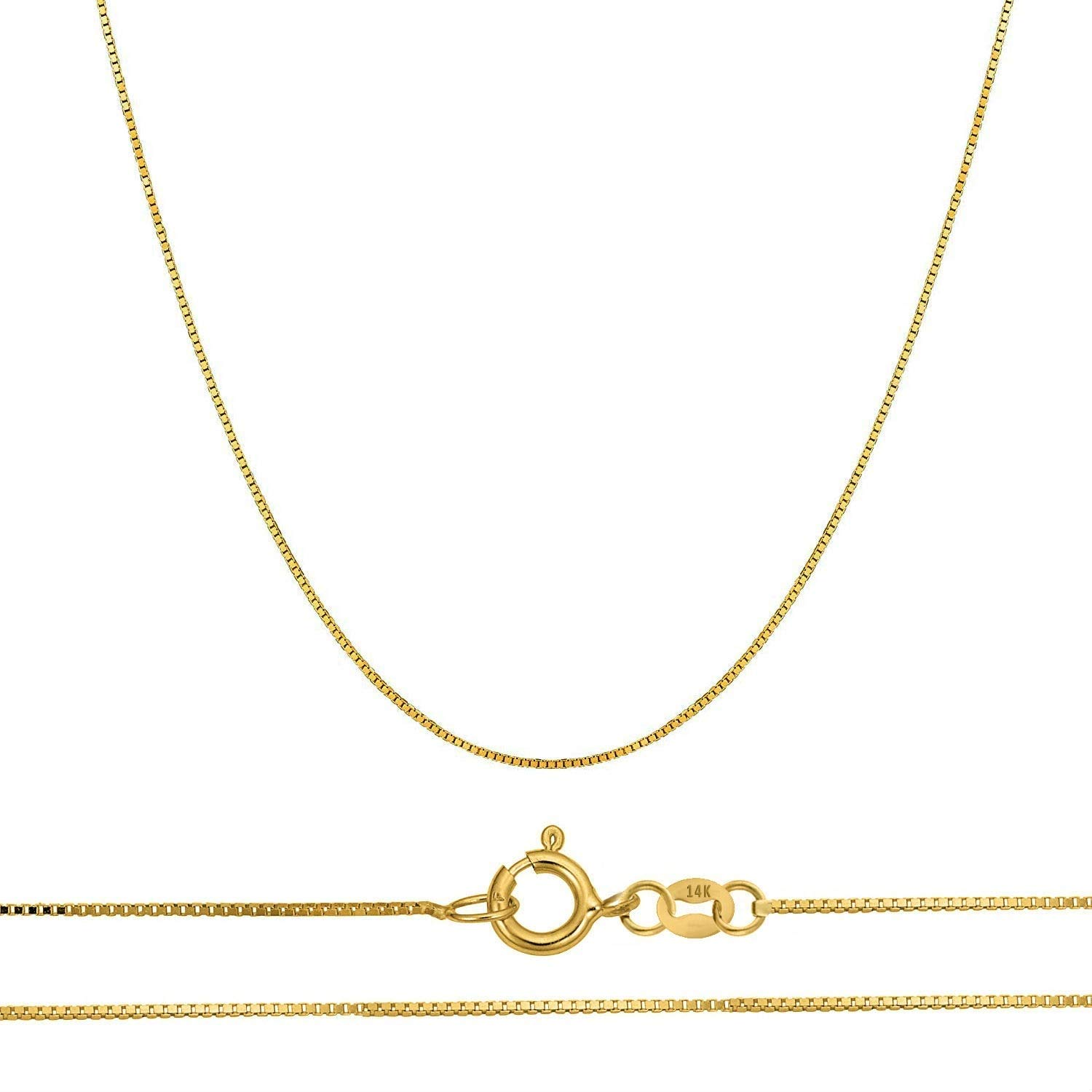 Becca Code 14k Yellow Gold .5MM Solid Box Chain Necklace 18'' by Becca Code (Image #2)