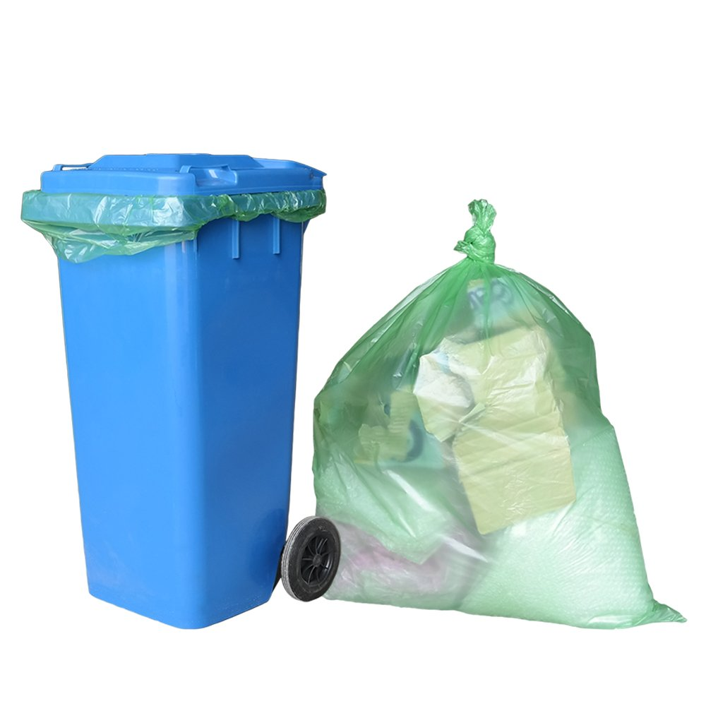 Teyyvn 65 Gallon Large Trash Bag, Green, 65 Counts