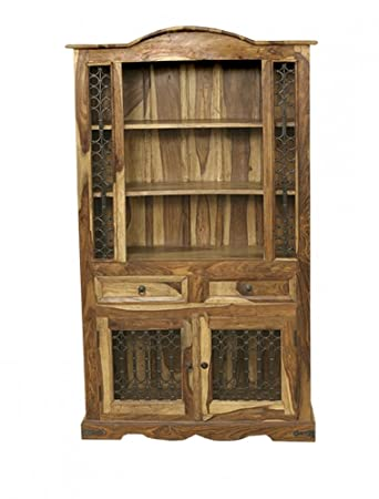 Jali Solid Sheesham Indian Rosewood Arch Top Dresser Cabinet Dining Room Furniture