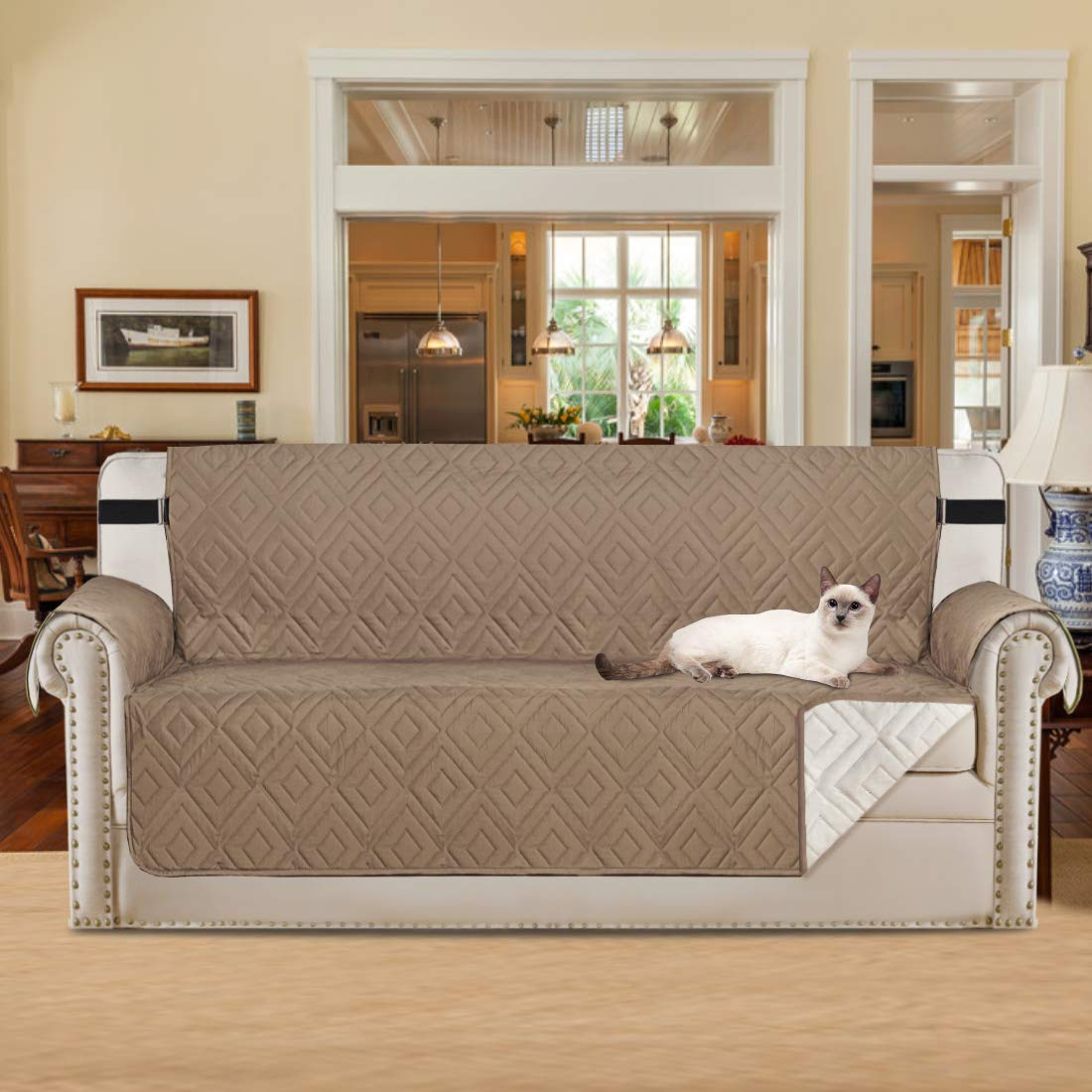 H.VERSAILTEX Upgrade Deluxe Reversible Quilted Furniture Protector and Pet Protector, Perfect for Families with Pets and Kids, 75 inch x 110 inch (Sofa -Taupe/Beige)