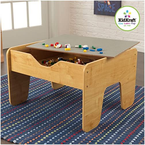 KidKraft Reversible Wooden Activity Table with Board with 195 Building Bricks – Gray & Natural, Gift for Ages 3+