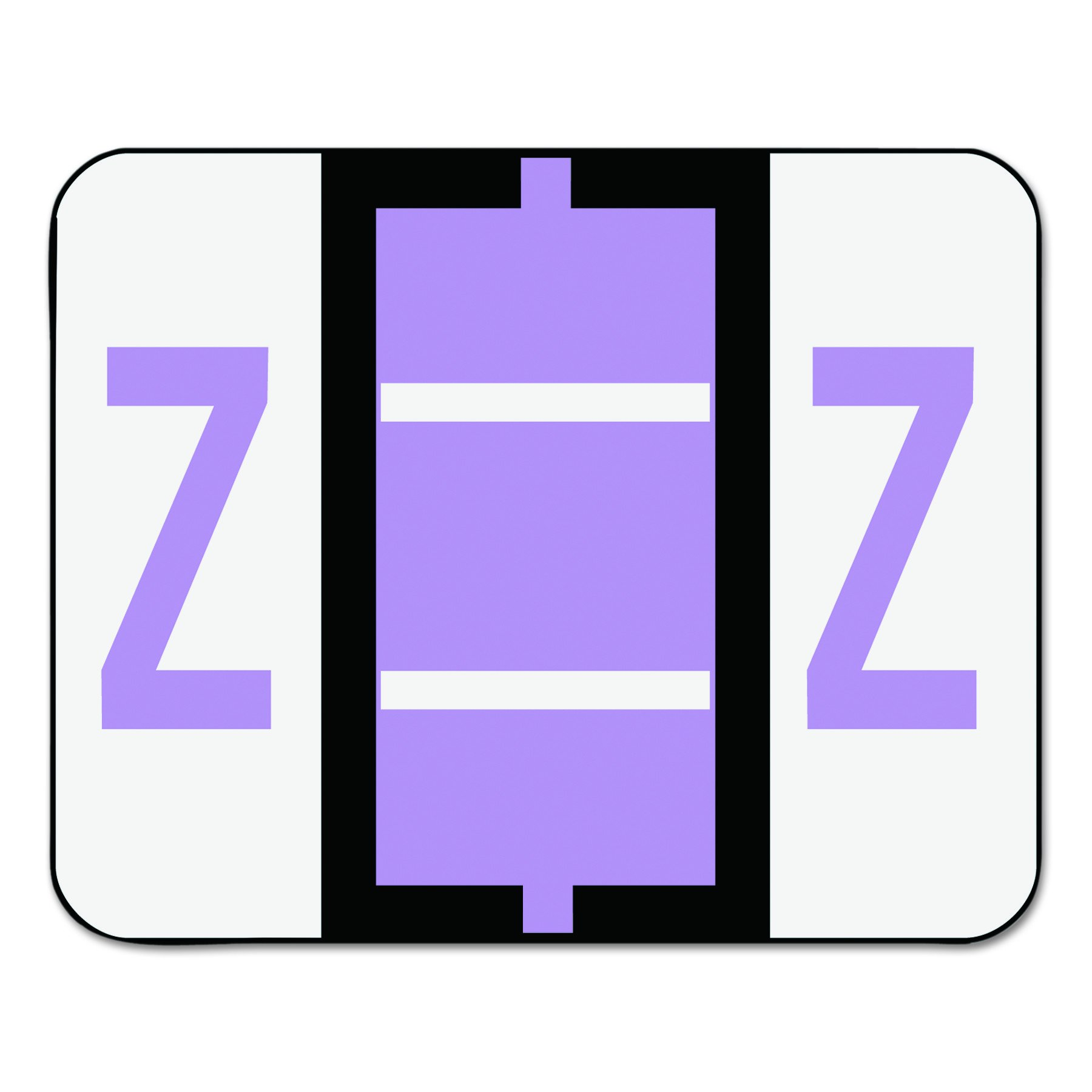 Smead 67096 A-Z Color-Coded Bar-Style End Tab Labels, Letter Z, Lavender, 500 per Roll