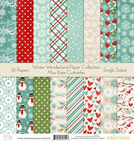 Pattern Paper Pack - Winter Wonderland - Scrapbook Specialty Paper Single-Sided 12
