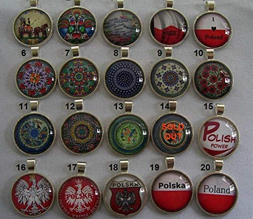 Your choice of Polish Pottery Necklace Polska Round 1 inch Pendant Chain