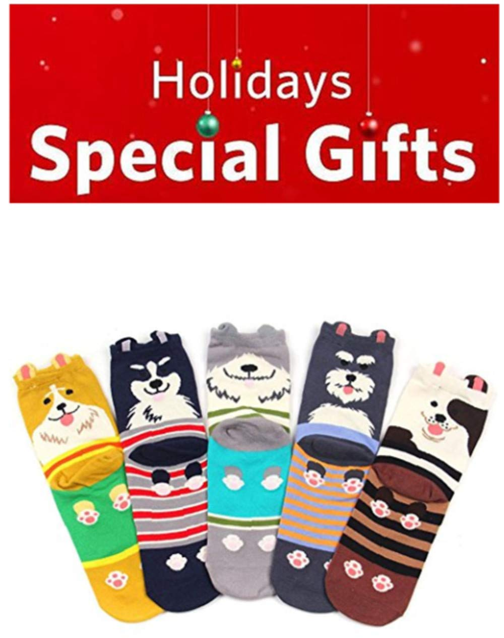 Ladies Womens Cartoon Cotton Socks Cute Dog Animal Crew Novelty Liner Socks