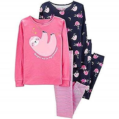 2c52e47e6 Carter s Girls Pajamas PJs 4pc Cotton Snug Sloth with Glitter Hearts Set  (3T)
