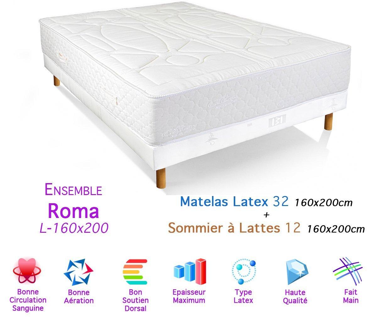 Conjunto de somier Roma Colchón látex 32/12, 160 x 200 cm: Amazon.es: Hogar