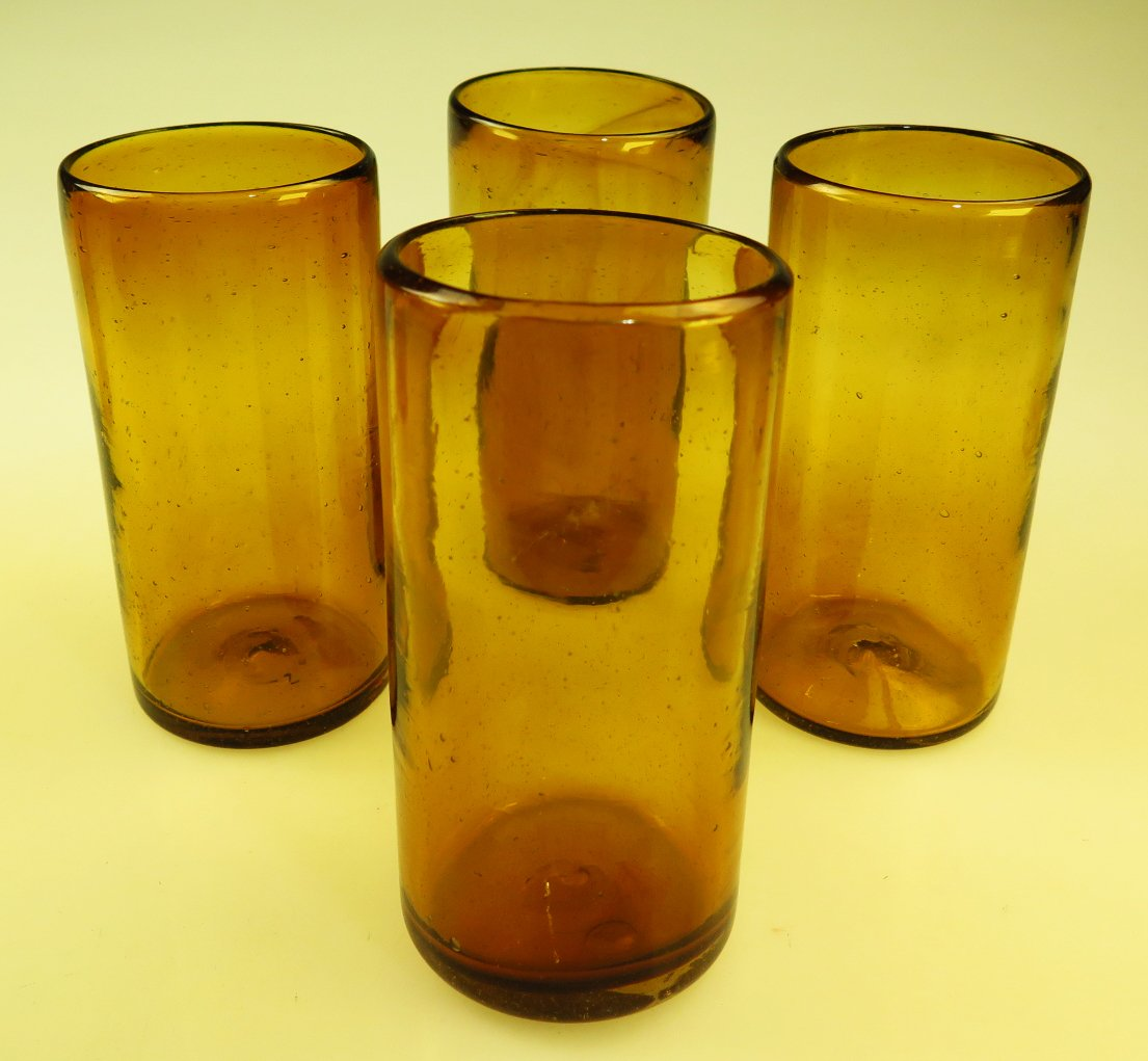 Mexican Glasses Solid Amber Tumblers, Set of 4