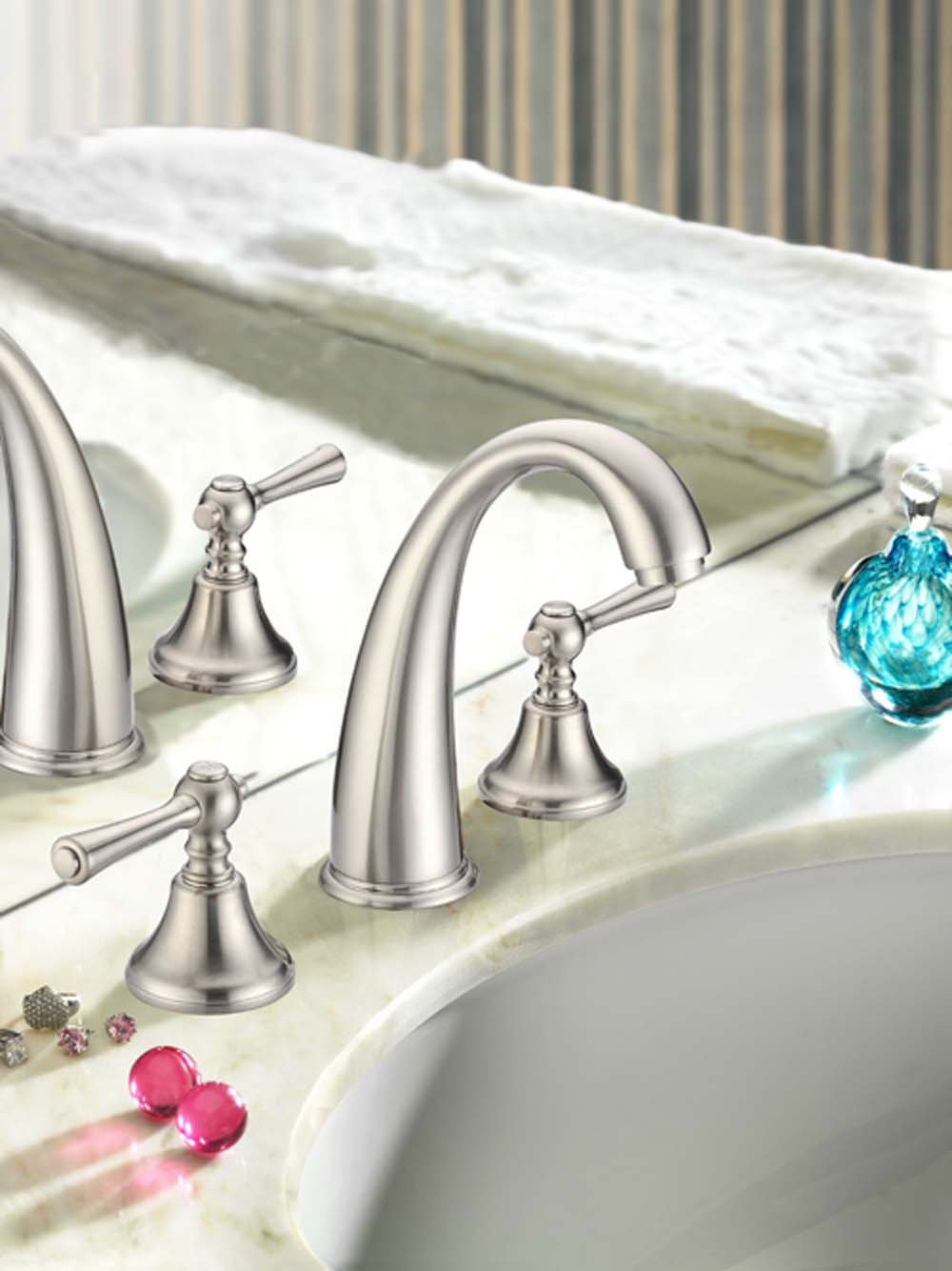 Apogee by Lenova Sinks - Transitional widespread lav faucet with a goose neck spout with pop up drain and ceramic cartridges in satin nickel - 8 Pack by Apogee by Lenova Sinks