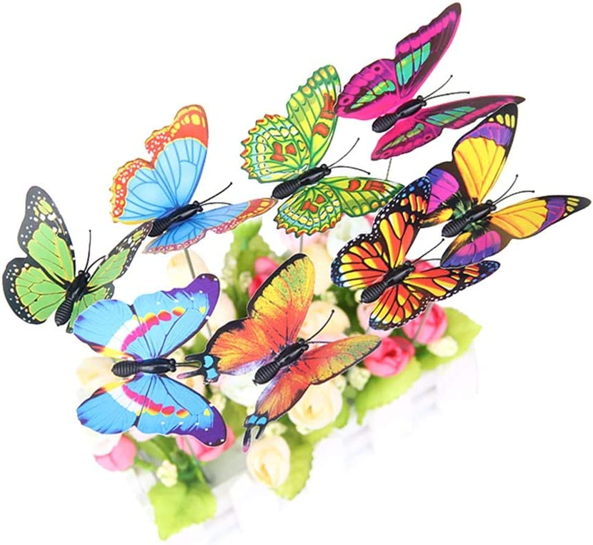 Adarl Miniature Garden Figurines,20pcs Butterflies PVC Ornaments for DIY Fairy Garden Dollhouse Decoration