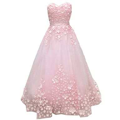 SuperKimJo Floral Prom Dresses Long Puffy Tulle Evening Dresses for Women