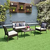 Tangkula 4PCS Patio Wicker Furniture Outdoor Garden Lawn PE Rattan Wicker Coffee Table and Chair Conversation Sofa Furniture Set W/Cushion