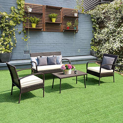Tangkula 4PCS Patio Wicker Furniture Outdoor Garden Lawn PE Rattan Wicker Coffee Table and Chair Conversation Sofa Furniture Set W/Cushion