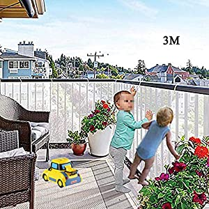 Indoor/Outdoor Baby Safety Stair Railing Net   Baby Proofing Stair Balcony Banister Rail Guard   Child Safety Stair Protection   Safe Rail   10ft L x 2.6ft H   White