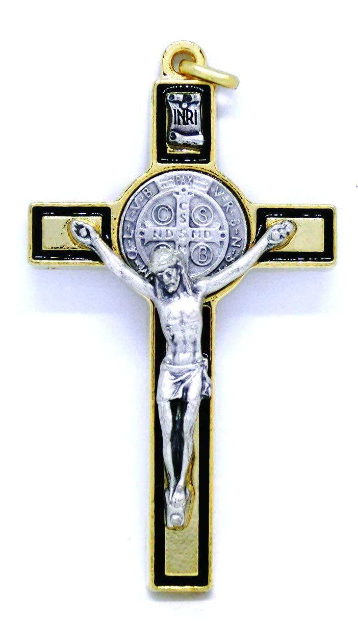 10.026.21 croce di san benedetto misura 8 cm con riga nera smaltato a mano oro esorcismo esorcista GTBITALY