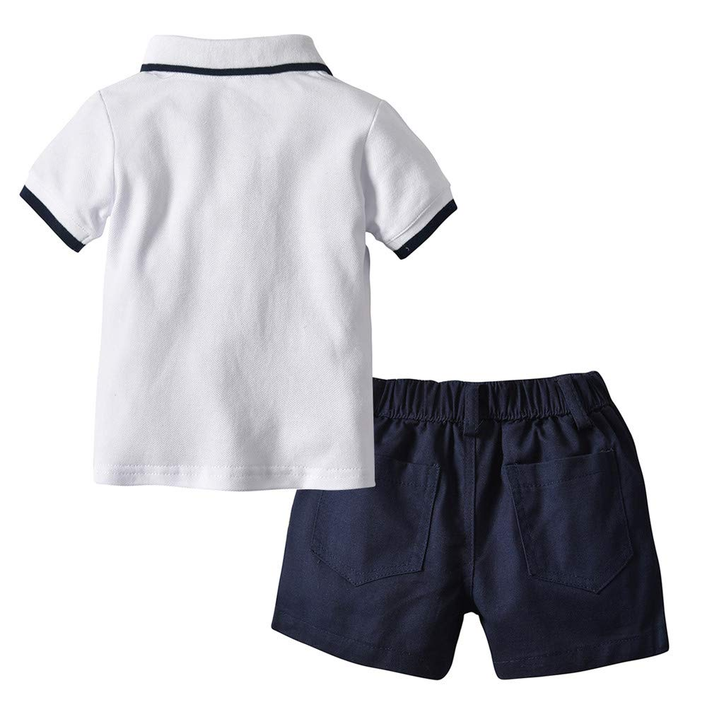 (6M-5Y)Ugood Infant Baby Boy Children Gentleman Suits Short Sleeve Shirt 2-3 Years, Navy Shorts Outfit Set