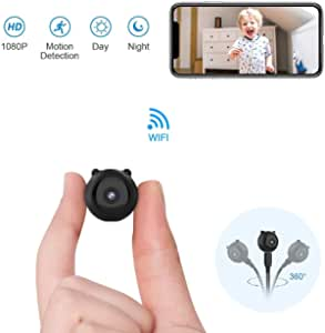 GXSLKWL HD Wireless WiFi Camera Battery Powered with Motion Detection Night Vision Indoor Home Spy Nanny Cam Security Cameras Spy Hidden Camera (Color : +32G Memory Card)