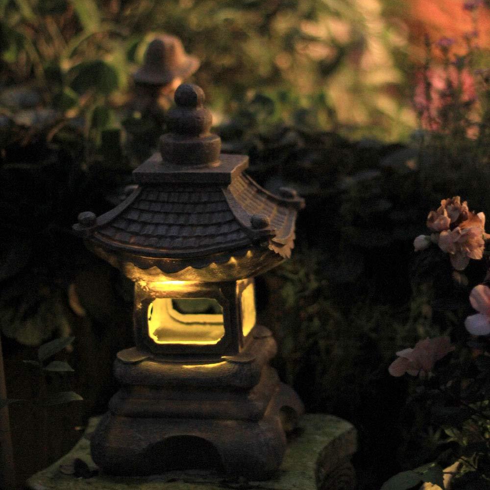 zenggp Japanese Style Solar Zen Garden Lights Lantern Pagoda Light Solar Garden Lamp Statue by zenggp (Image #7)