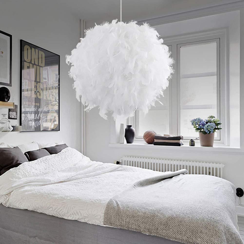 STOEX Lustre Suspension en Plumes 30 cm E27 40W Blanc