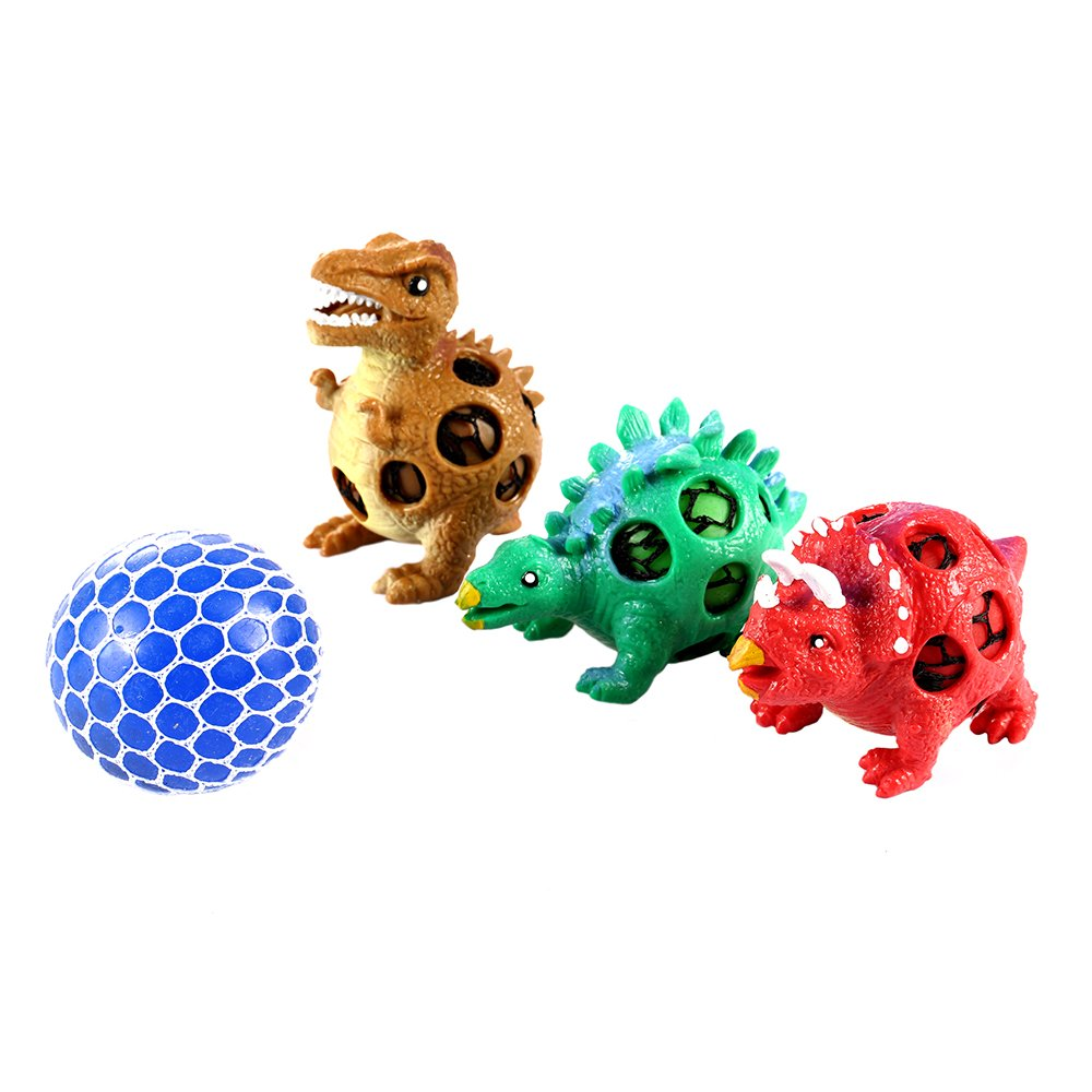Dinosaur Stress Squeeze Toys 3 Pack with 1 Mesh Grape Ball for Boys and Girls, 4 Set Sensory Fidget for Kids and Adults, Cute Dino Decompression Tool to Kill Time, Great Gift and Adorable Party Favor