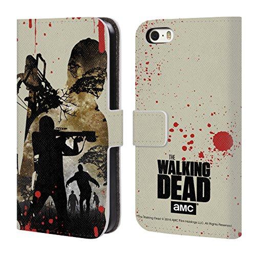 Officiel AMC The Walking Dead Daryl Plein Silhouettes Étui Coque De Livre En Cuir Pour Apple iPhone 5 / 5s / SE