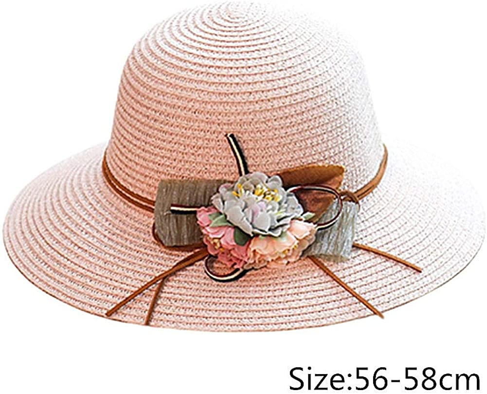 FASHION AMA Straw Hat Sun Hat Holiday Straw Hat Sun Protection Straw Hat Sun Protection hat Beach Straw Hat Sunshade Straw Hat Weave Straw Straw Hat