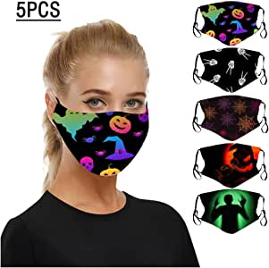 Halloween Pumpkin Print Cotton Shield Dustproof Breathable Multi-Purpose Face Bandanas (5PC X)