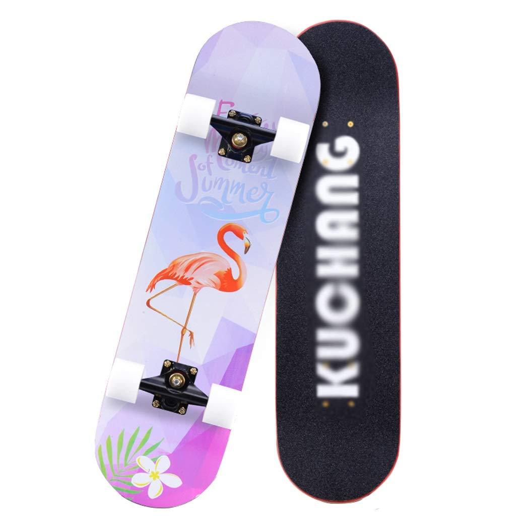 スケートボードコンプリートスケートボードプロスケートボード凹面デッキダブルキックテール4輪子供に最適女の子女の子男の子若者大人初心者 E